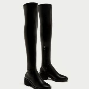 Zara Over the Knee Black Boots